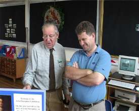Graham Barfield and David Miller (right) inspect the exhibition