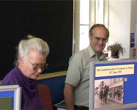 The Earl and Countess of Buckinghamshire (left) inspect the exhibition